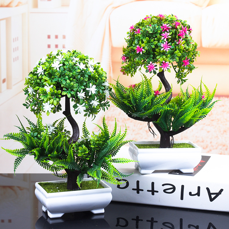 1PCS Colorful Artificial Plants Bonsai Small Tree Pot Plants Fake Tree Bonsai For Home & Garden Decoration