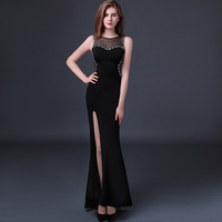 High Quality Custom Plus Size 2017 Summer Sexy Dress Women Black Split Mermaid Ladies Maxi Evening Party Ukraine Long Dresses