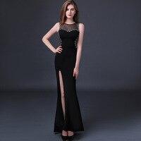 High Quality Custom Plus Size 2017 Summer Sexy Dress Women Black Split Mermaid Ladies Maxi Evening
