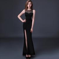 High Quality Custom Plus Size 2017 Summer Sexy Dress Women Black Split Mermaid Ladies Maxi Evening Party Ukraine Long Dresses