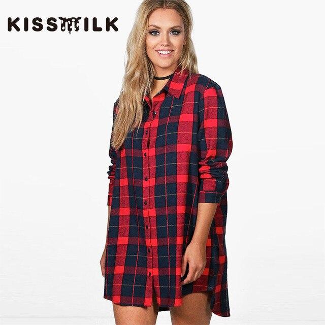 Spring Plus Size Western Style Fashion Loose Plaid Long Sleeve Large