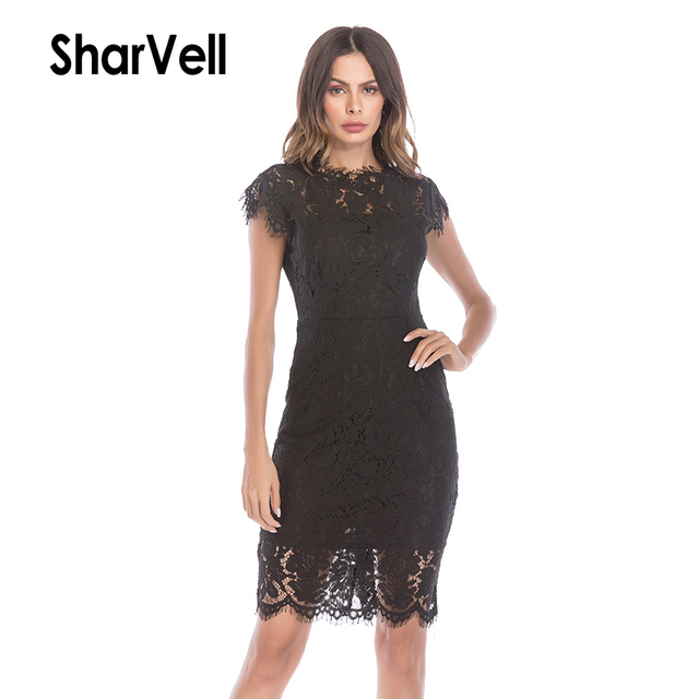 SharVell Women Lace Embroidery Hollow Out Sexy Dress Trumpet Mermaid Elegant Bodycon Party Dress High Waist vestidos de fiesta