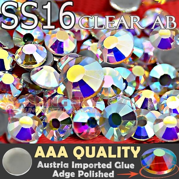 fényes! AAA Hot Fix strasszos SS16 átlátszó AB kristályok 1440db / táska Lapos hátsó strassz üveg kő Trim DIY ruhadarab