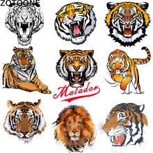 ZOTOONE Cartoon Tiger Heat Transfer Patch DIY Clothing Hot Printing Patterns Grade A Paste Powder Offset Sticker D