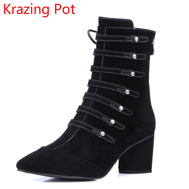 2018 Fashion Genuine Leather Pointed Toe Winter Boots High Heel Runway Rivets Classic Superstar Rivets Women Mid-calf Boots L66 plus size 2016 new fashion genuine leather formal brand man mid calf boots men s winter pointed toe rivets cowboy shoes fpt451