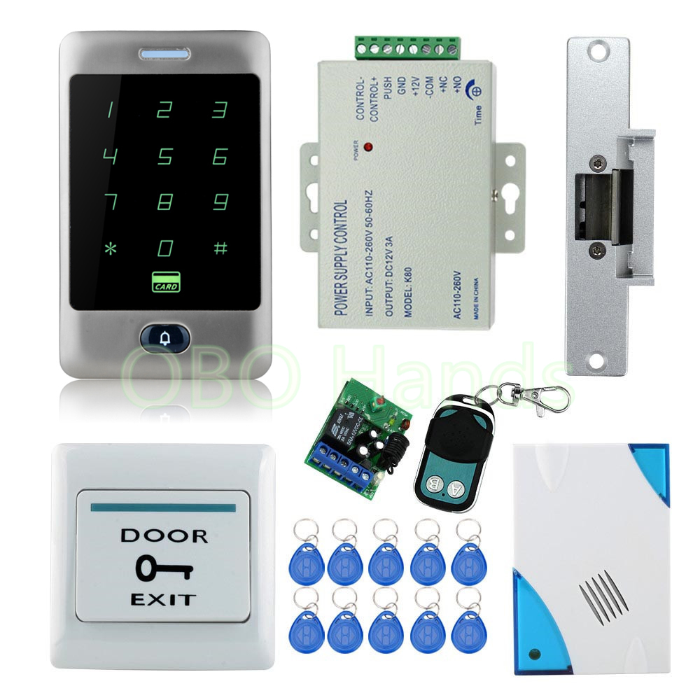 Full waterproof access control system kit set with Electric Strike Lock+Remote control+Door bell+power+exit+Touch screen keypad full kit access control biometric fingerprint x6 electric strik lock power supply exit button door bell remote control key cards