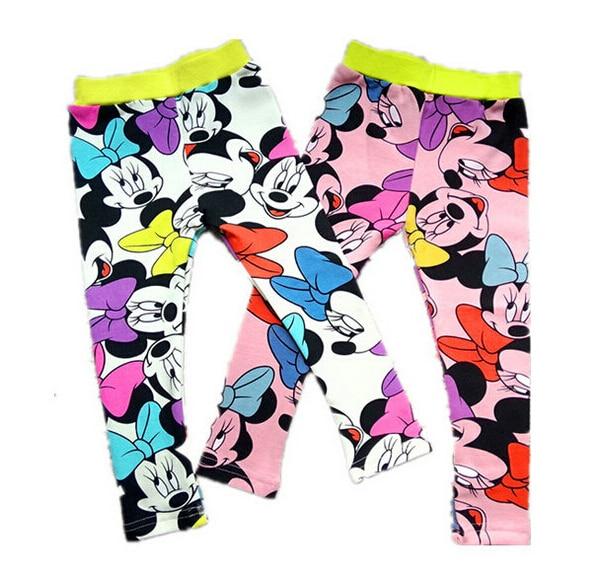 Kids Spring Minnie Leggings Childrens Cartoon Warm Minnie Mouse Pants For Girls Kids Toddler Trousers Printing Leggings Enfant