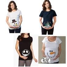 920df82d8 Muñeco de nieve de Navidad de impresión de camisetas de ropa de embarazo  divertido