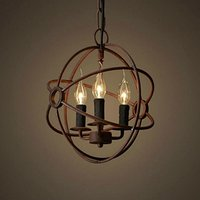 Vintage Chandelier Globe Shape Loft Three Sockets Ceiling Lamp Retro Antique Iron Pendant lamp 3 lights for Living Room