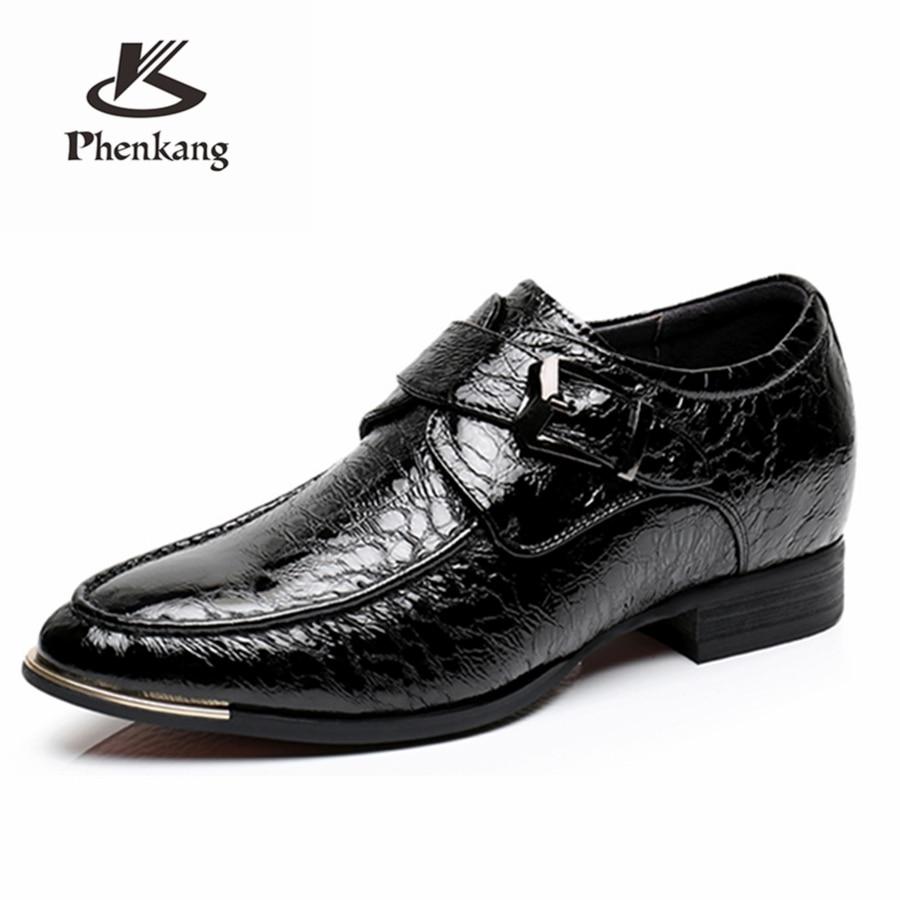 Echt koe leer toename brogue zakelijke Bruiloft mannen schoenen casual flats schoenen vintage sneaker oxford schoenen zwart blauw lente-in Formele Schoenen van Schoenen op  Groep 1