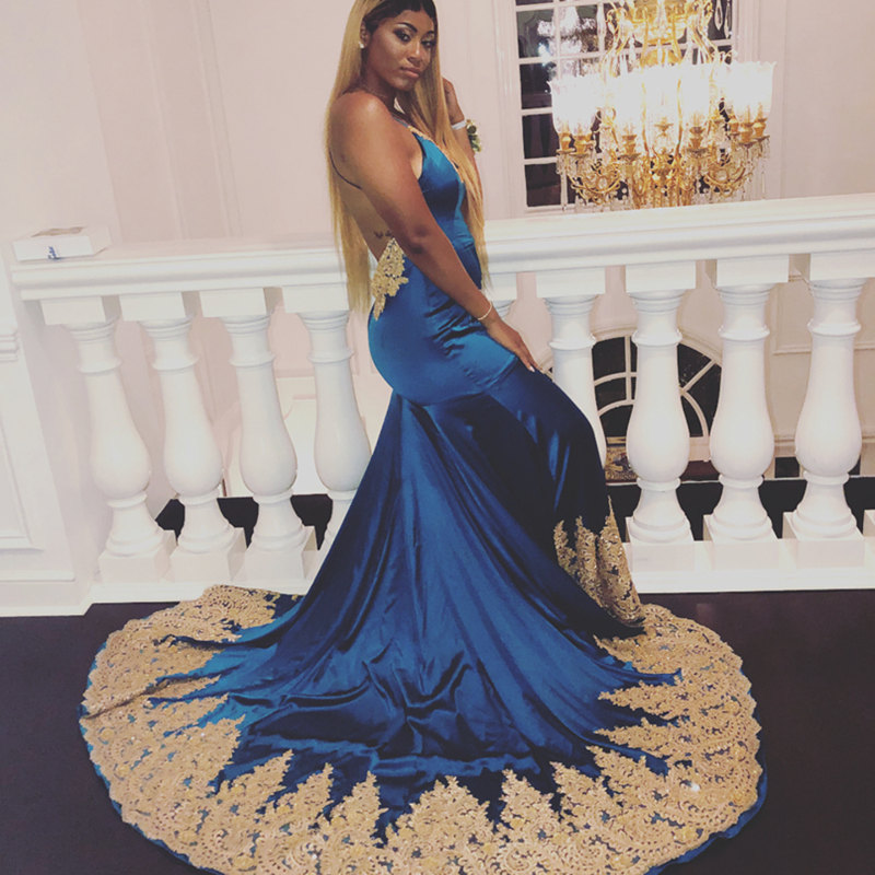 Sexy Backless Mermaid Long Prom Dresses 2019 Charming Lace Appliques Prom Gown Sleeveless V-Neck Party Dress Vestidos De Gala