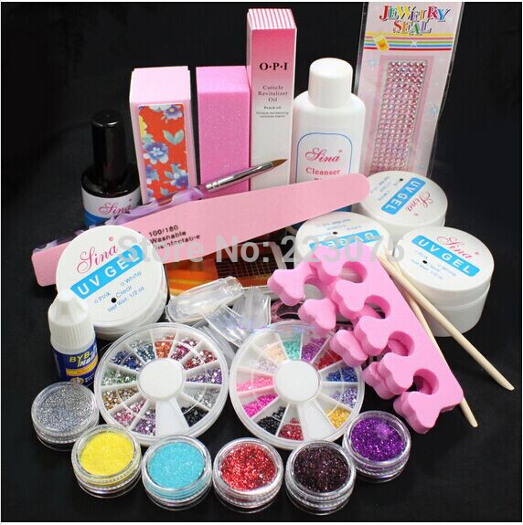 Hot New Pro Full Acrylic Glitter Powder Glue French Nail Art UV Gel Tip Kit Set