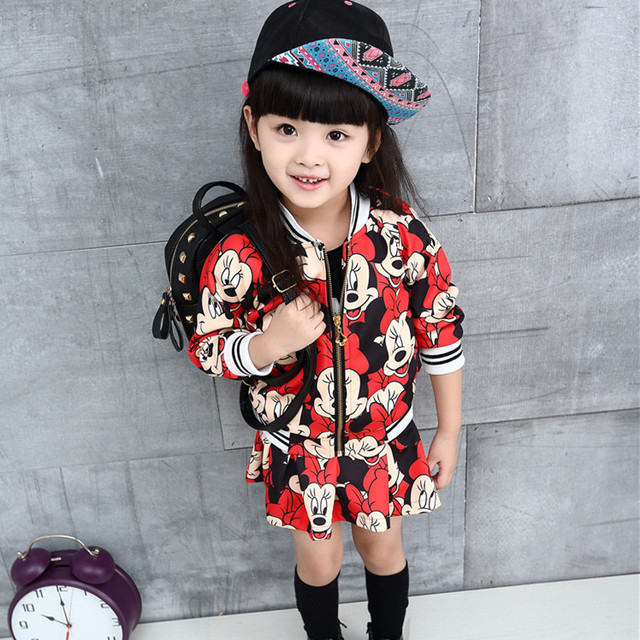 2016 Nuevo estilo de los deportes de moda marca de ropa para niñas establece Cartton ratón patrón Chaquetas y mini faldas lindas 2 unids bebé disfraces