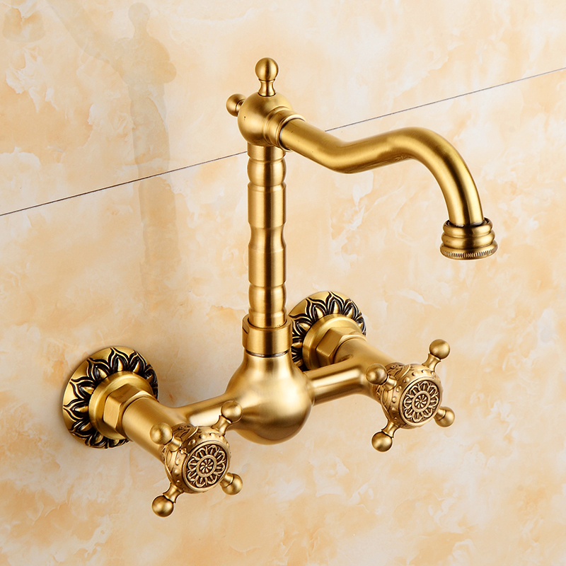 Brass Polished Wall Mounted Kitchen Faucet Mixer Tap Sink Basin faucet Double Handle Swivel Spout Cold Hot Water taps SRH001 golden brass kitchen faucet dual handles vessel sink mixer tap swivel spout w pure water tap
