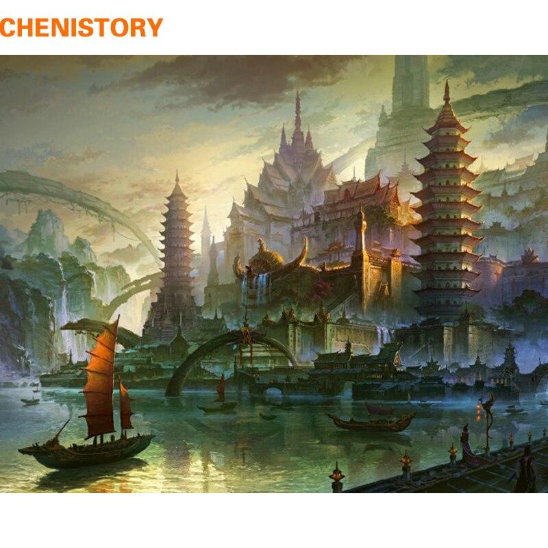CHENISTORY Pagoda abstracto paisaje DIY pintura por números pintura al óleo de la vendimia en la lona decoración casera Ilustraciones únicas de la pared del regalo