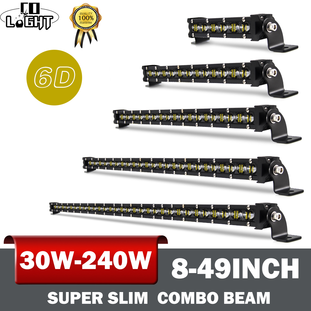 CO LIGHT 30W 60W 90W 120W 150W 180W 210W 240W Led Bar 6D Led Light Bar Combo Auto Offroad Driving Light For 4X4 Jeep SUV 12V 24V