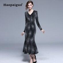 S-XXL Plus Size Trumpet Black Velvet Dress Women Ruffles Autumn Winter V-neck Long Sleeve Sequin Elegant