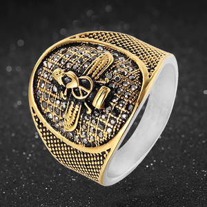 Vintage Islamic Eagle Ring Men Stainless Steel CZ Micro Pave Punk Rings For Men Women Finger Vintage Jewelry Mohammed Totem