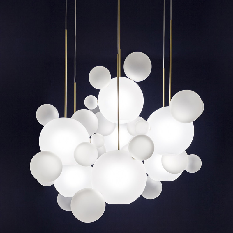 New classical bubble glass ball pendant lights foyer frosted glass milky white droplight hotel restaurant decoration light