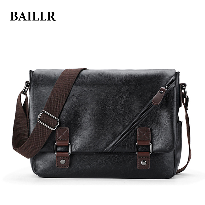 BAILLR 2017 New Brand Men Leather Messenger Bag Male Casual Shoulder crossbody Student Bag Black vintga  Men's Bags For IPAD free shipping 2015 brand desigenr leather male messenger bag stylish shoulder bags student sport bag items sb97