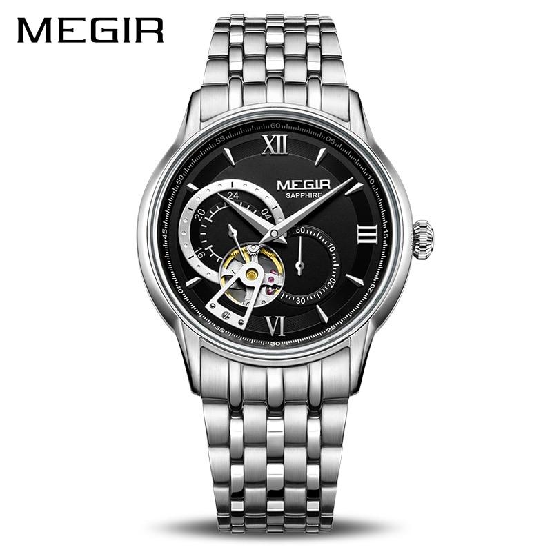 MEGIR New Skeleton Automatic Mechanical Men Watch Stainless Steel Business Wrist Watches Clock Relogio Masculino Montre