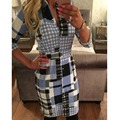 New Ruiyige Brand 2017 Spring Summer Women Casual Sexy Plaid Dress 3/4 Sleeve Formal Office Work Shirt Dresses Plus Size 00003