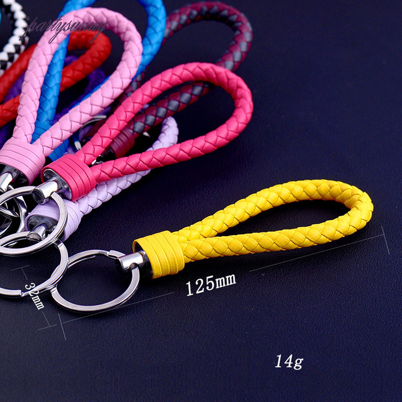 PF Handwork Weave Leather Keychain Cute Baubles Accessories For Bags Keychain Ring Multicolor Simple Car Keychain Chaveiro