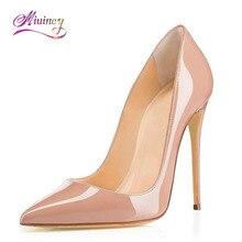 2017 г. Zapatos Mujer tacon Брендовая обувь женские Высокий каблук женские туфли-лодочки на шпильках тонкий каблук Для женщин телесного цвета острый носок Размеры