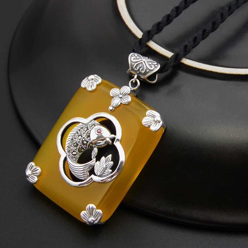 Fnj 925 silver fish pendant square natural yellow stone 100 real fnj 925 silver fish pendant square natural yellow stone 100 real s925 solid original silver pendants for women jewelry making in pendants from jewelry aloadofball Image collections