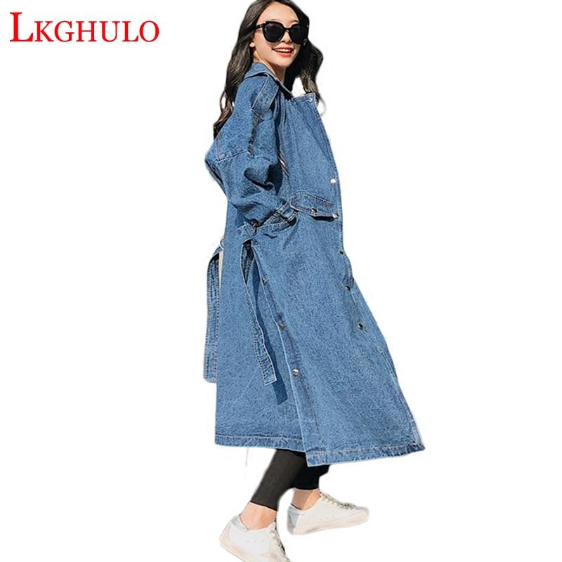 Women Trenchcoat Loose Jeans Denim Coat Long Coat Oversize Split Windbreaker Female Overcoat Winter Autumn Trench