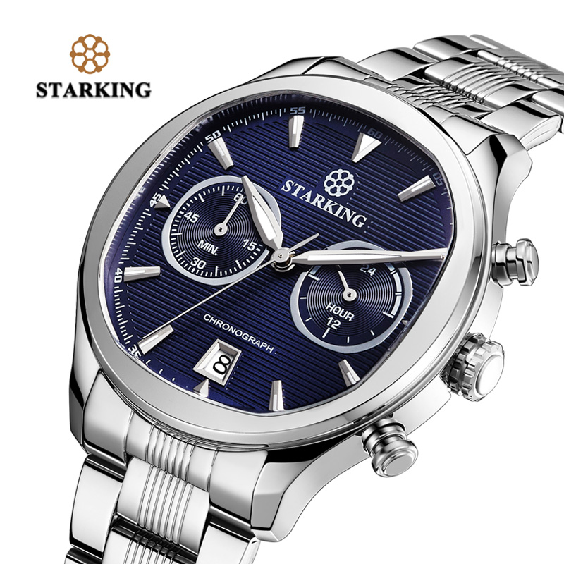 STARKING New Arrival Stainless Steel Men Chronograph Watch 30m Water Resistant Fashion Elegant Blue Dial Watch Quartz Male Colck elegant m