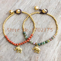 India agate brass bell bracelets for girls with elephant charms relogio feminino thai style bracelets for women wax cord style
