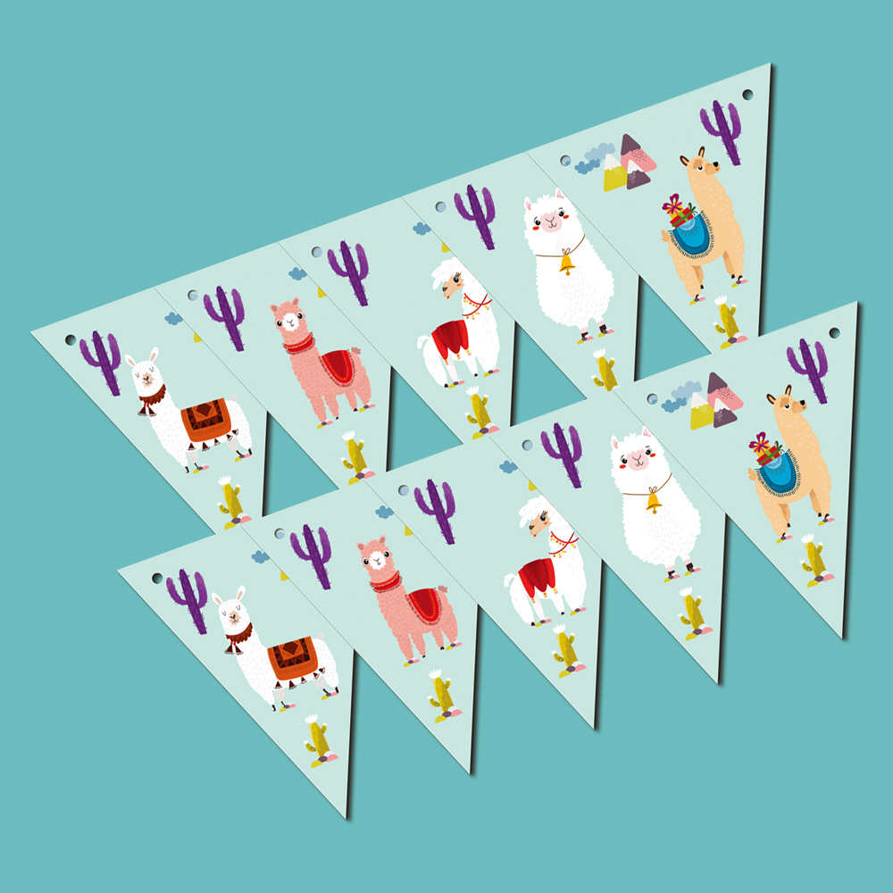 Party supplies party decoration 1set Alpaca Llama theme party paper banner bunting pennant including 10 flags and a string