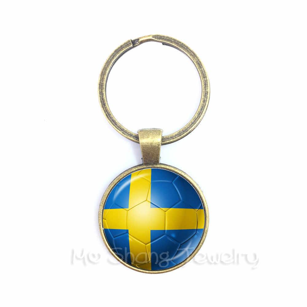 2018 Wk Sleutelhangers Senegal, Servië, Zwitserland, Zweden, Portugal, Japan Natie Vlag Voetbal Sleutelhanger