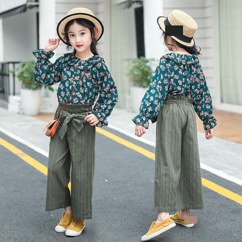 2018 Kids Fashion Girls Clothing Sets 2pcs Floral Print Blouses Shirts + Wid Leg Pants Suits for Teenage Girls Clothes Sets Sale garyduck girls clothing sets kids knitted suits long sleeve houndstooth tops skirts 2pcs for girls suits