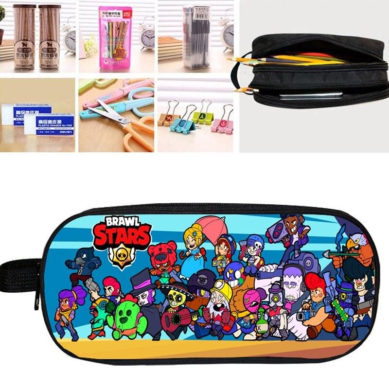 Bag Stationery-Bag Purse Pencil-Case-Holder Brawl Stars Handbags Double-Layer School