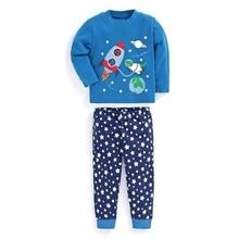 Купить с кэшбэком Kids Girl Boy Animal Print Sleepwear Nightwear Pajamas Set Long Sleeve O-Neck Red Cotton Blend Children Set for Christmas New