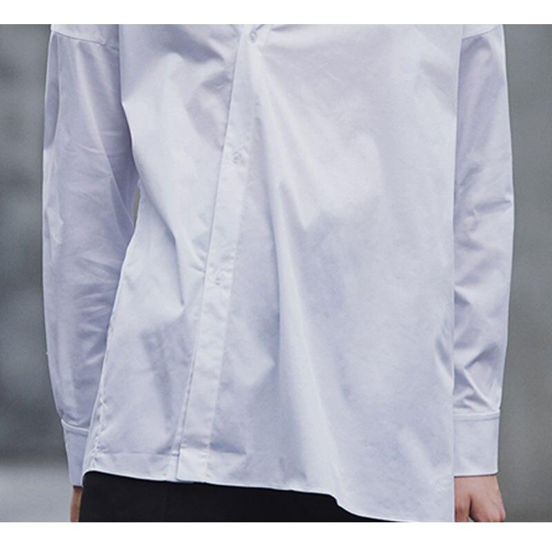 HG blanc lâche Blouse femmes irrégulière mince mode bouton élégant col montant loisirs 2019 nouveau automne chemises dames ZYQ1168 - 5