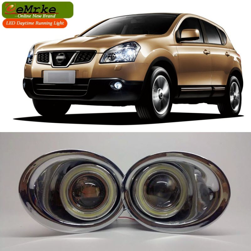 eeMrke For Nissan Qashqai J10 2006-2013 LED Angel Eye Halogen Bulbs H11 55W Fog Lamp DRL Daytime Running Lights fit for 15 17 gmc yukon denali front fog light lamp chrome bezel lh rh h3 12v 20w clear lens