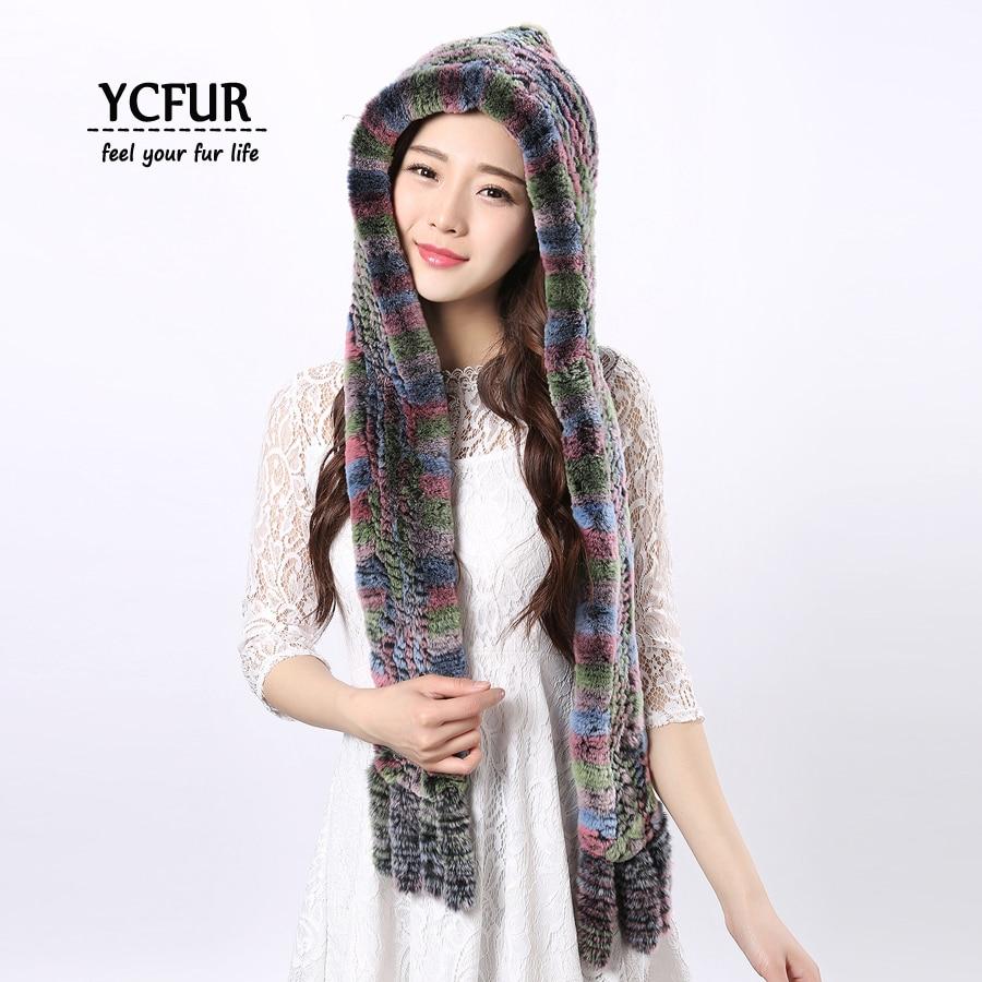 [YCFUR] Ægte pels hatte tørklæder kvinder vinter strikket Rex - Beklædningstilbehør
