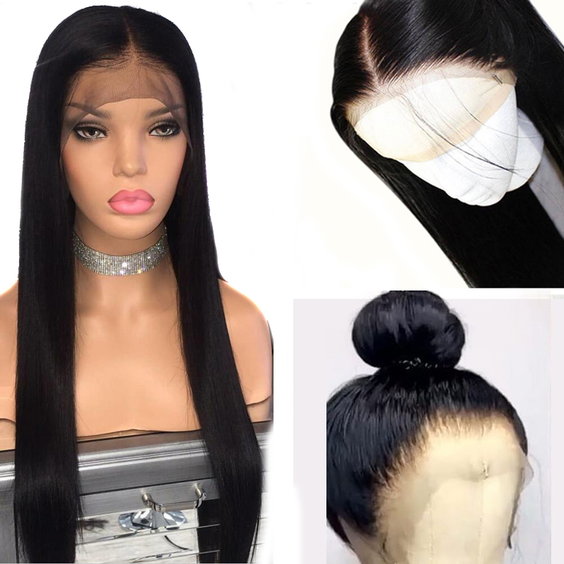 13x6 Deep Part Lace Front Human Hair Wigs PrePlucked 360 Frontal Closure Wig Brazilian Straight Remy Black for Women Atina Queen(China)