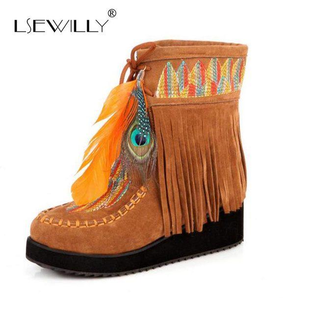 Lsewilly Indischen Stil Retro Fringe Boots Flock Chunky Feder Frauen Knöchel Kurze Stiefel Quasten Big Größe Schuhe Größe 34-43 AA555