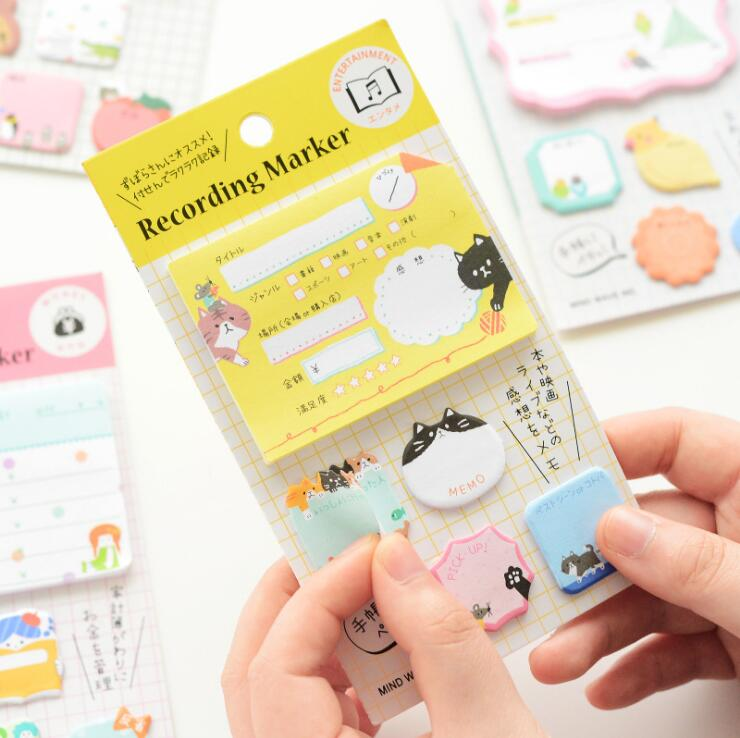 New Arrived Japanese Mind Wave Self-Adhesive Memo Pad Sticky Notes Bookmark School Office Supply