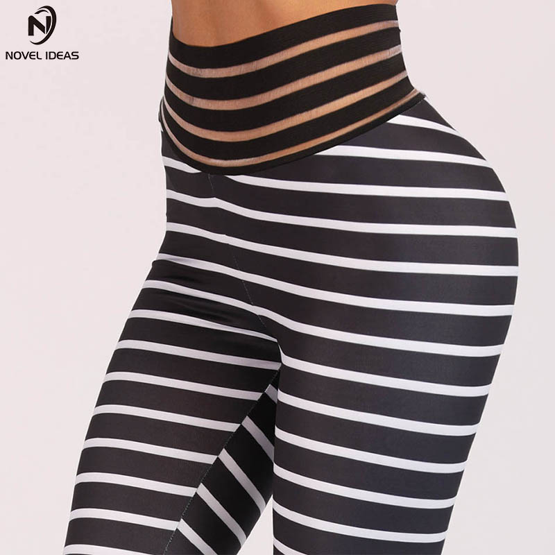 2c0ba2e3c40a2 Transparent Wasit Pink Stripe Yoga Leggings For Women Sports Pants Big  Booty Compression Fitness Workout Elastic Running Tights-in Yoga Pants from  Sports ...