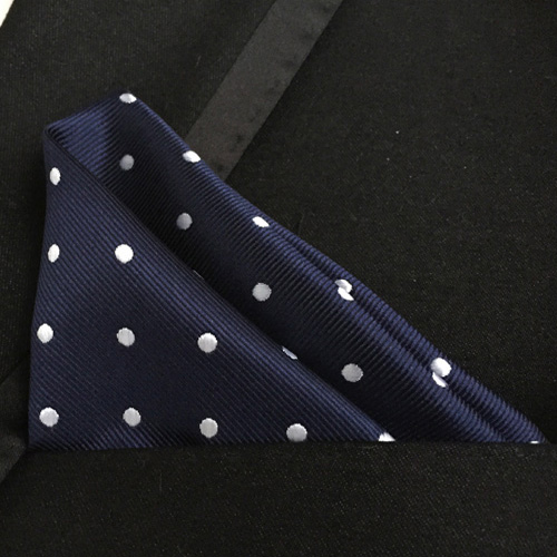 Lingyao Luxury Pocket Square High Quality Woven Handkerchiefs Navy Blue With White Dots