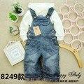 Frete grátis Clássico primavera outono calças jardineiras macacão jeans macio infantis das crianças do bebê da menina do menino calças jeans casuais