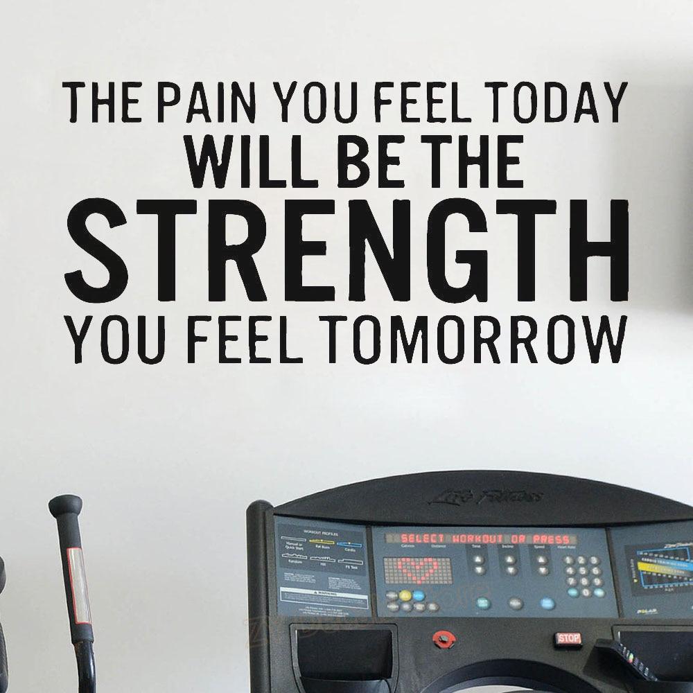 Pain Strength Gym Workout Motivation Quote Words Vinyl Wall Art Sticker Wallpaper Mural Home Decoration Decals Inspiring Z805 Wall Stickers Aliexpress