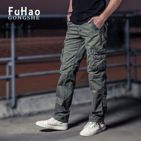2017 New Men Cargo Pants mens Casual trousers easy wash male army pants army green big pockets decoration  plus size 29-40