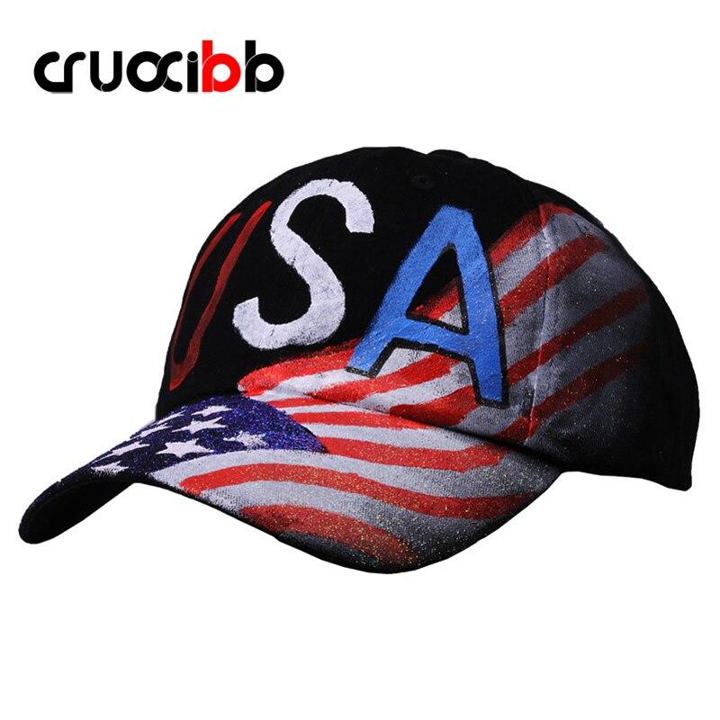 CRUOXIBB 2017 New Brand Baseball Cap Unisex USA Flag Painting Women's Baseball Caps Fashion Unique Snapback Fashion Bone Gorras