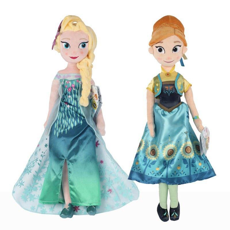 2pcs/lot 40cm Snow Queen Fever Princess Elsa Anna Plush Doll Toy Cute Princess Plush Stuffed Toys Dolls Gifts for Girls Kids